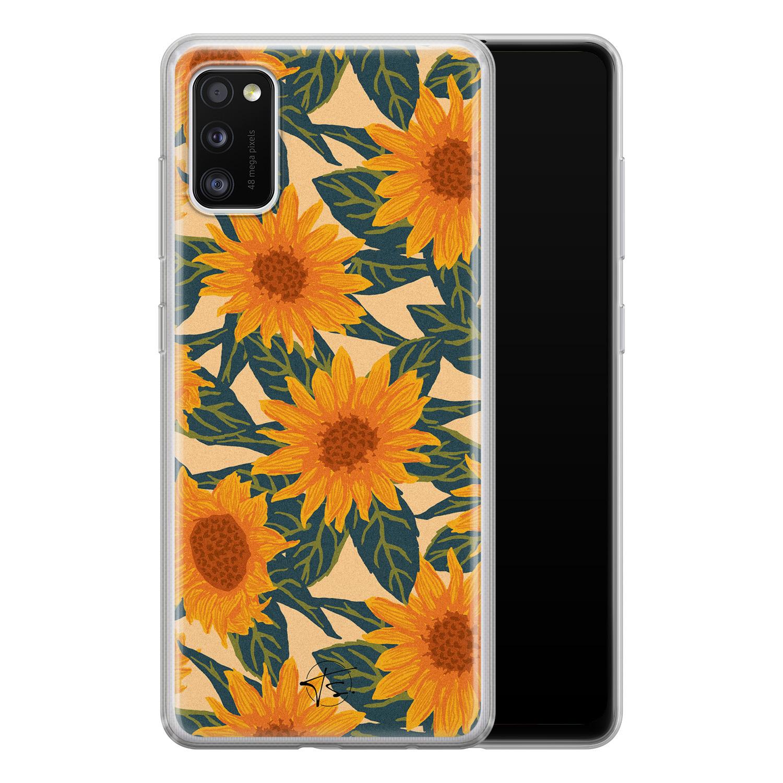 Telefoonhoesje Store Samsung Galaxy A41 siliconen hoesje - Zonnebloemen