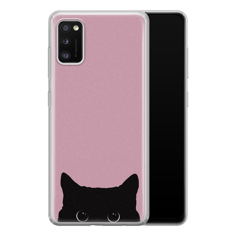 Telefoonhoesje Store Samsung Galaxy A41 siliconen hoesje - Zwarte kat