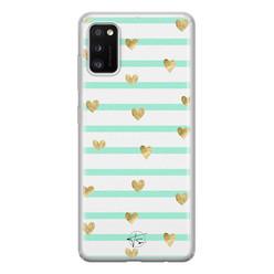 Telefoonhoesje Store Samsung Galaxy A41 siliconen hoesje - Mint hartjes