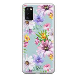 Telefoonhoesje Store Samsung Galaxy A41 siliconen hoesje - Mint bloemen