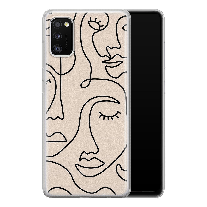 Leuke Telefoonhoesjes Samsung Galaxy A41 siliconen hoesje - Abstract gezicht lijnen