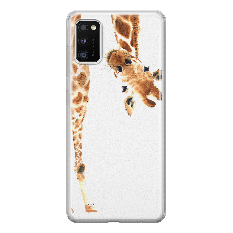 Leuke Telefoonhoesjes Samsung Galaxy A41 siliconen hoesje - Giraffe peekaboo