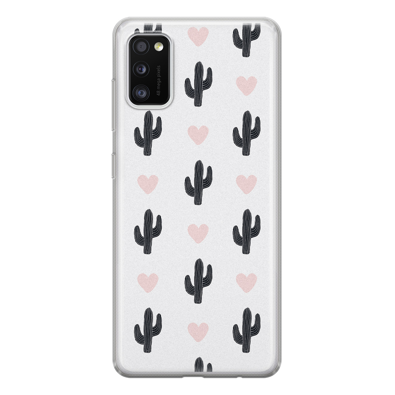 Leuke Telefoonhoesjes Samsung Galaxy A41 siliconen hoesje - Cactus love