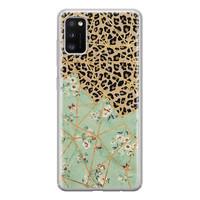 Leuke Telefoonhoesjes Samsung Galaxy A41 siliconen hoesje - Luipaard flower print