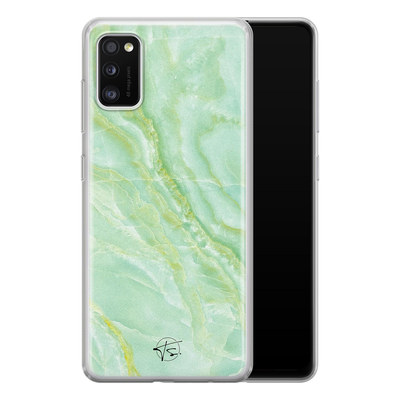 Telefoonhoesje Store Samsung Galaxy A41 siliconen hoesje - Marmer Limegroen