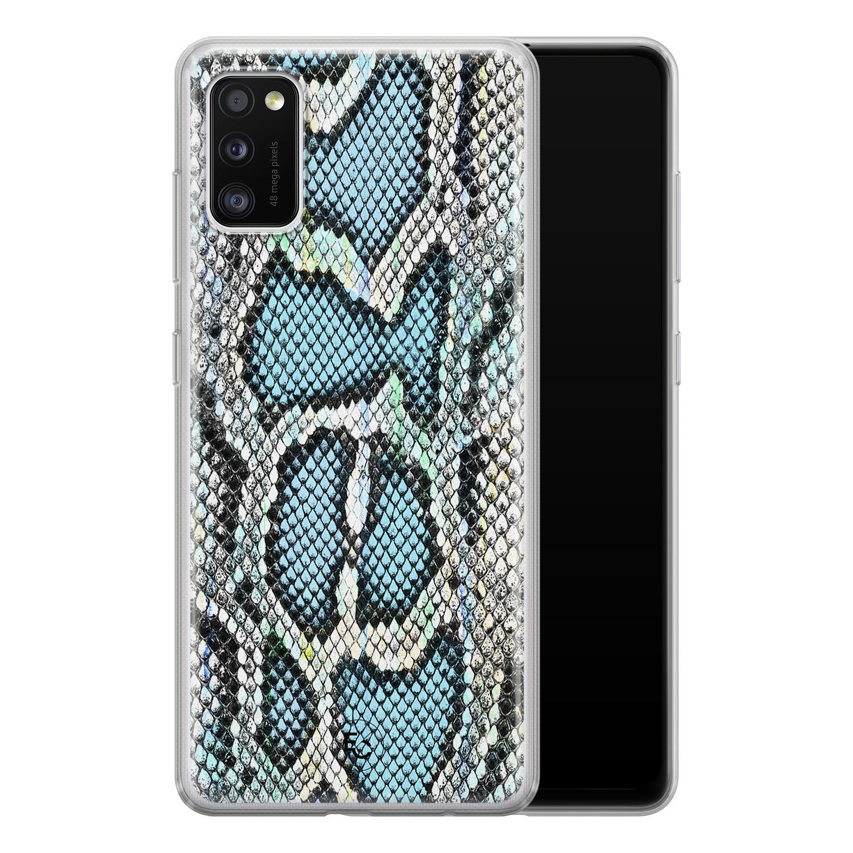ELLECHIQ Samsung Galaxy A41 siliconen hoesje - Baby Snake blue