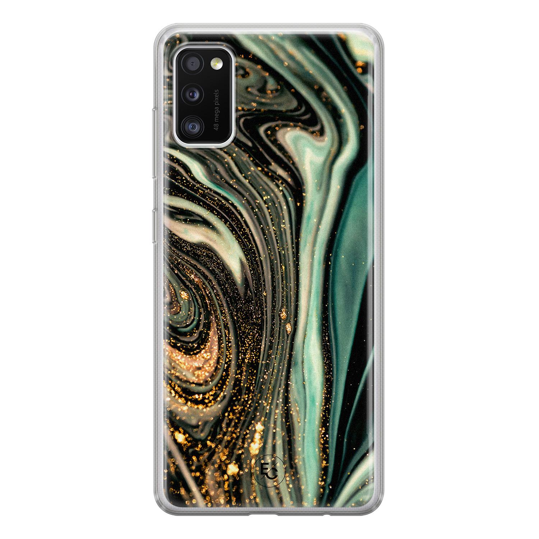 ELLECHIQ Samsung Galaxy A41 siliconen hoesje - Marble Khaki Swirl