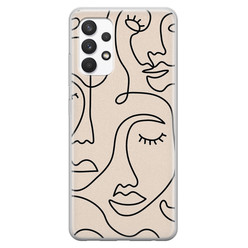Leuke Telefoonhoesjes Samsung Galaxy A32 4G siliconen hoesje - Abstract gezicht lijnen