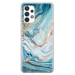 Telefoonhoesje Store Samsung Galaxy A32 4G siliconen hoesje - Marmer blauw goud