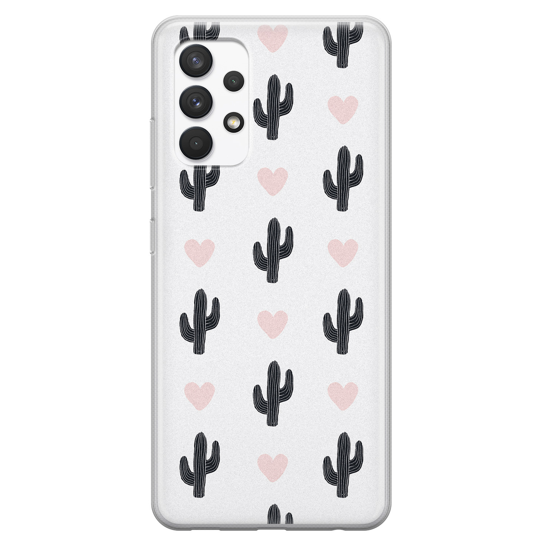 Leuke Telefoonhoesjes Samsung Galaxy A32 4G siliconen hoesje - Cactus love