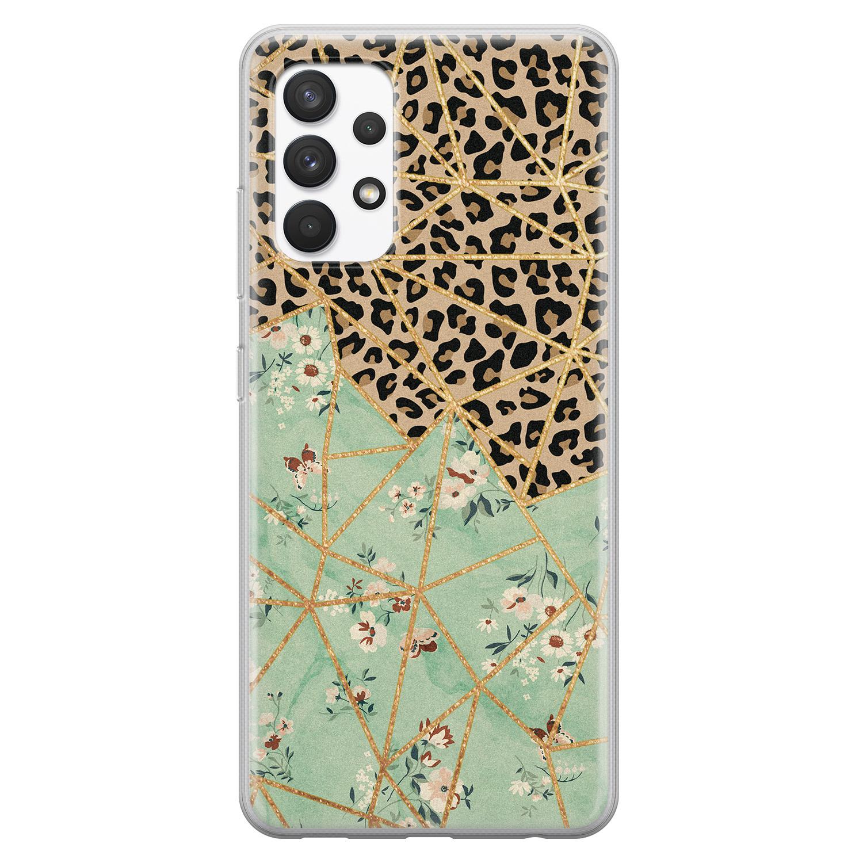 Leuke Telefoonhoesjes Samsung Galaxy A32 4G siliconen hoesje - Luipaard flower print