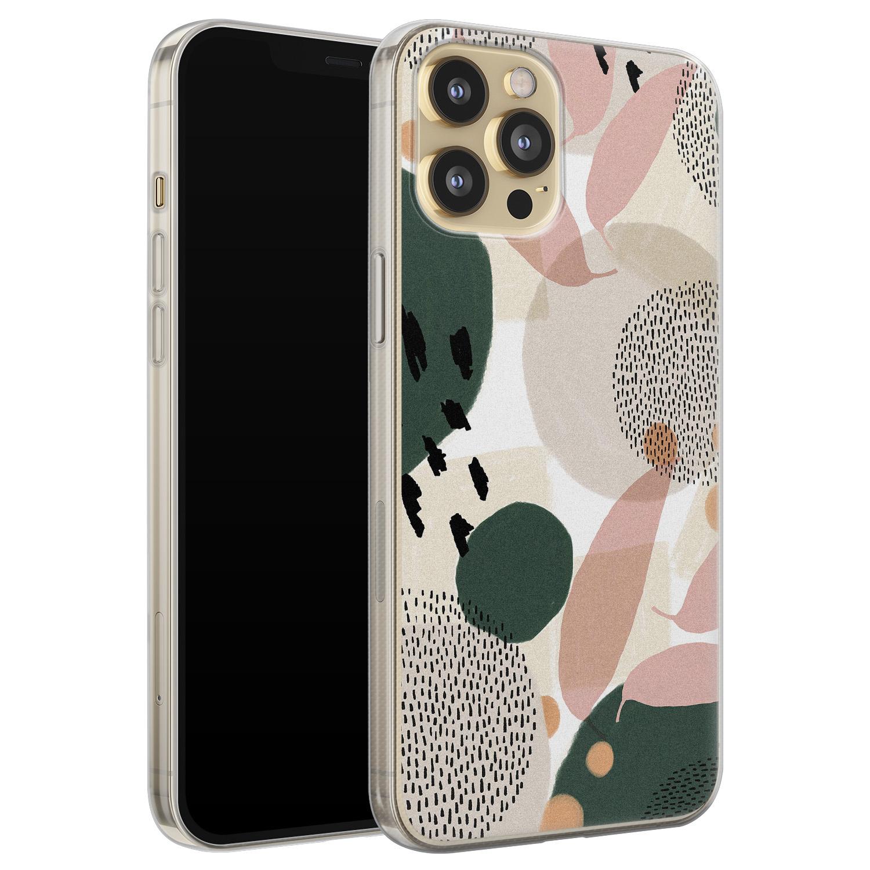 Leuke Telefoonhoesjes iPhone 12 Pro siliconen hoesje - Abstract