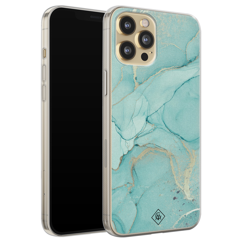 Casimoda iPhone 12 Pro siliconen hoesje - Marmer mintgroen