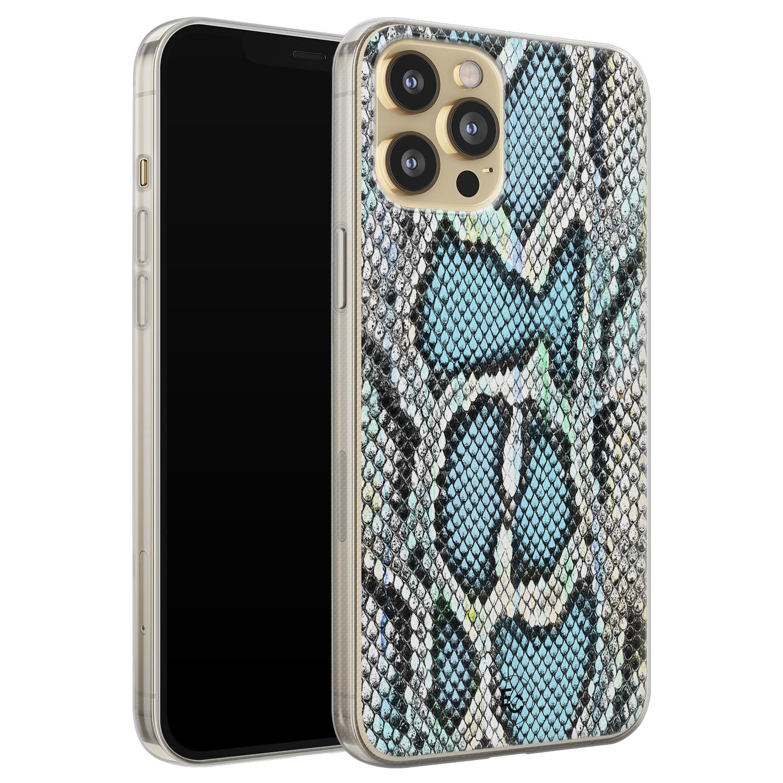 ELLECHIQ iPhone 12 Pro siliconen hoesje - Baby Snake blue