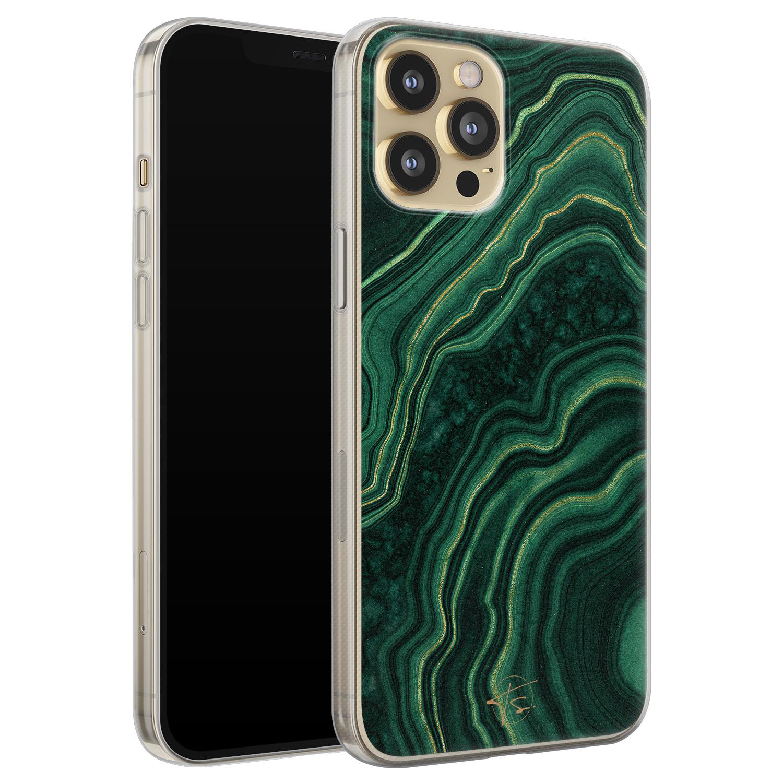Telefoonhoesje Store iPhone 12 Pro siliconen hoesje - Agate groen