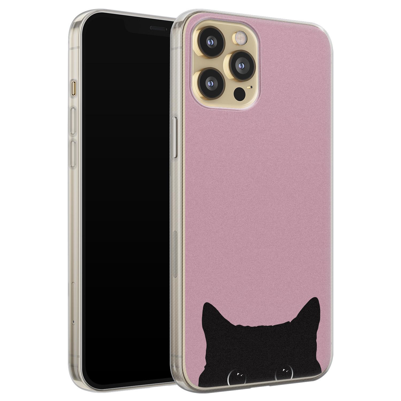 Telefoonhoesje Store iPhone 12 siliconen hoesje - Zwarte kat