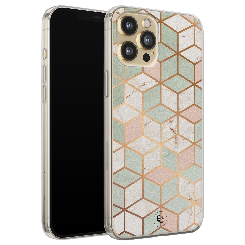 ELLECHIQ iPhone 12 siliconen hoesje - Pastel Kubus