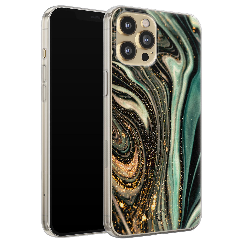 ELLECHIQ iPhone 12 siliconen hoesje - Marble Khaki Swirl