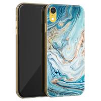 Telefoonhoesje Store iPhone XR siliconen hoesje - Marmer blauw goud