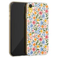 Telefoonhoesje Store iPhone XR siliconen hoesje - Romantische bloemen