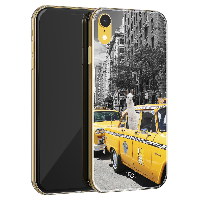 ELLECHIQ iPhone XR siliconen hoesje - Lama in taxi