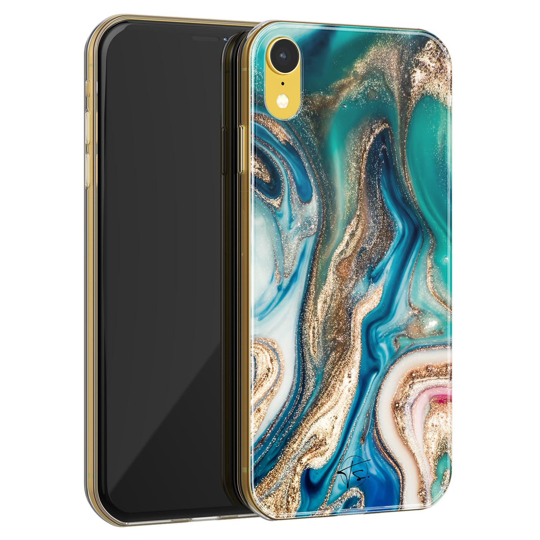 Telefoonhoesje Store iPhone XR siliconen hoesje - Magic marble