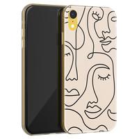 Leuke Telefoonhoesjes iPhone XR siliconen hoesje - Abstract face line