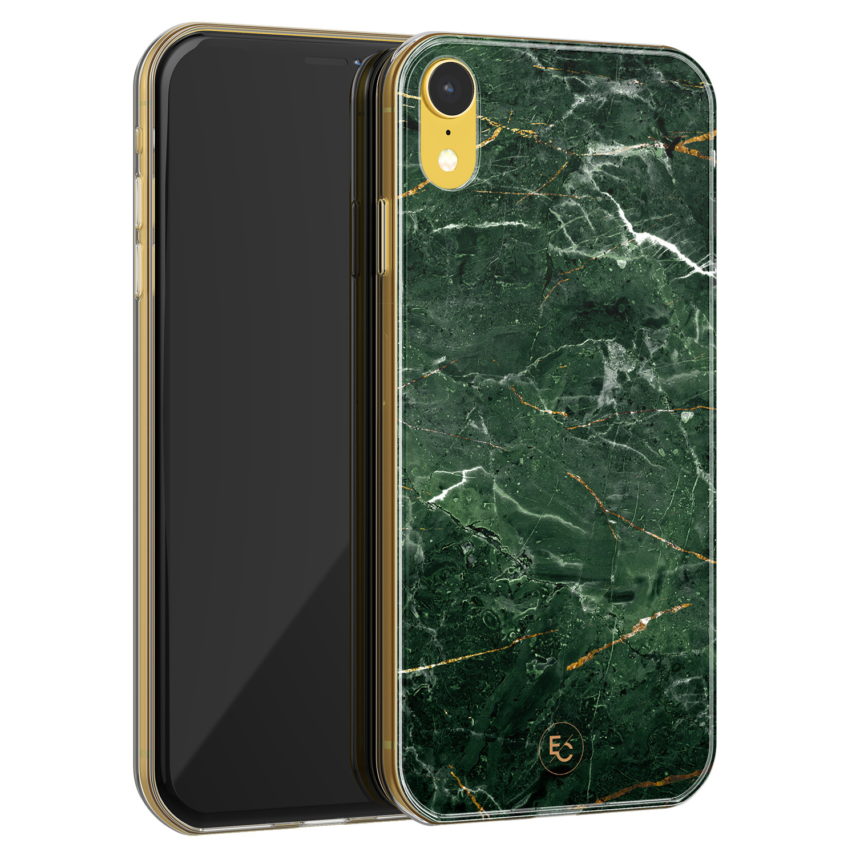 ELLECHIQ iPhone XR siliconen hoesje - Marble jade green