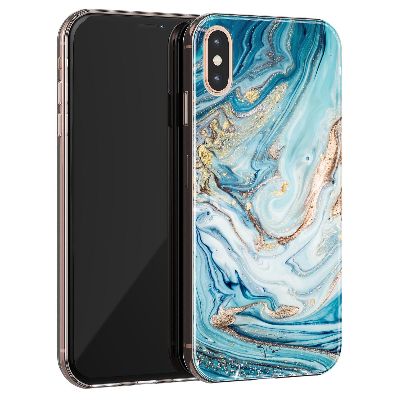 Telefoonhoesje Store iPhone X/XS siliconen hoesje - Marmer blauw goud