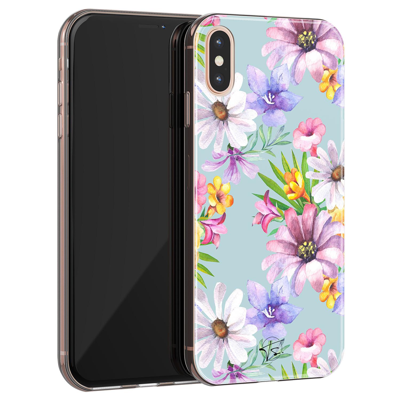 Telefoonhoesje Store iPhone X/XS siliconen hoesje - Mint bloemen