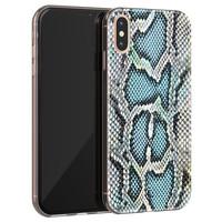 ELLECHIQ iPhone X/XS siliconen hoesje - Baby Snake blue