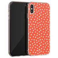 Telefoonhoesje Store iPhone X/XS siliconen hoesje - Oranje stippen