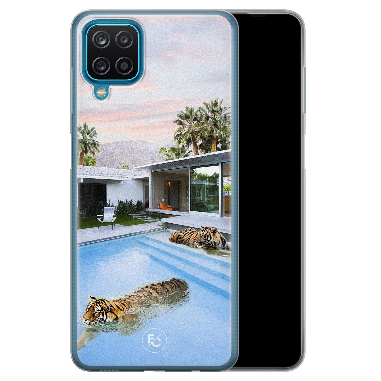 ELLECHIQ Samsung Galaxy A12 siliconen hoesje - Tiger pool