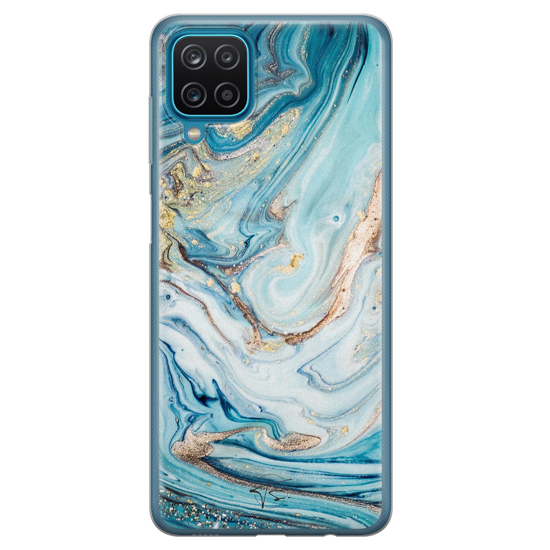 Telefoonhoesje Store Samsung Galaxy A12 siliconen hoesje - Marmer blauw goud