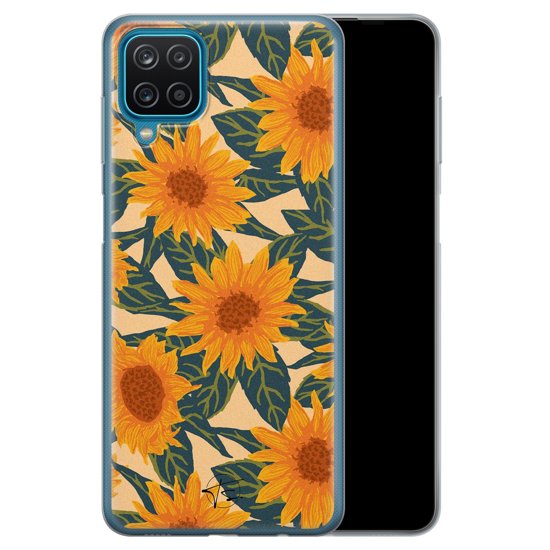 Telefoonhoesje Store Samsung Galaxy A12 siliconen hoesje - Zonnebloemen