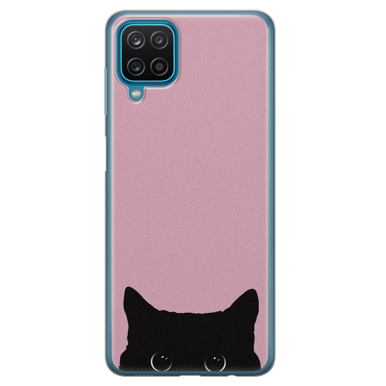 Telefoonhoesje Store Samsung Galaxy A12 siliconen hoesje - Zwarte kat