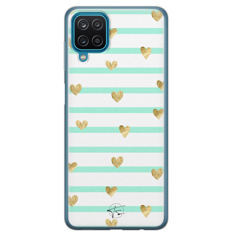 Telefoonhoesje Store Samsung Galaxy A12 siliconen hoesje - Mint hartjes