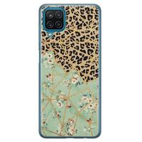 Leuke Telefoonhoesjes Samsung Galaxy A12 siliconen hoesje - Luipaard flower print