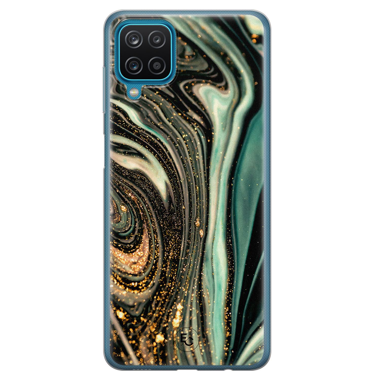 ELLECHIQ Samsung Galaxy A12 siliconen hoesje - Marble Khaki Swirl