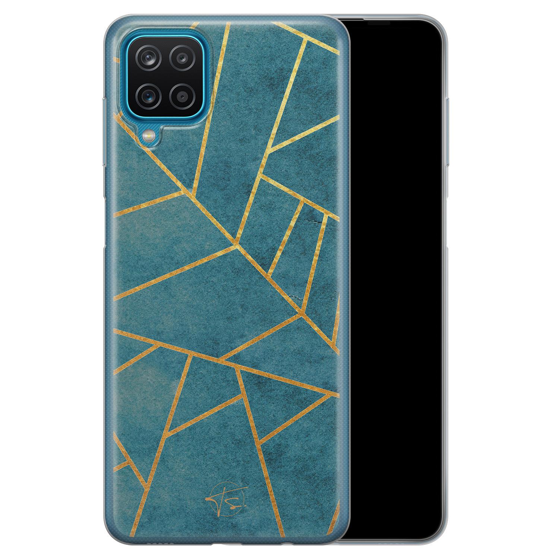 Telefoonhoesje Store Samsung Galaxy A12 siliconen hoesje - Abstract blauw
