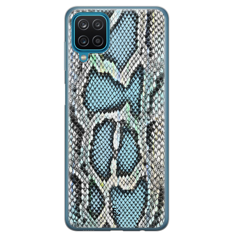 ELLECHIQ Samsung Galaxy A12 siliconen hoesje - Baby Snake blue