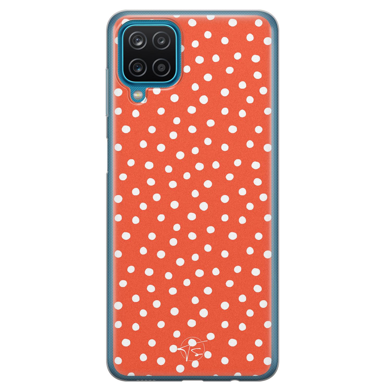 Telefoonhoesje Store Samsung Galaxy A12 siliconen hoesje - Orange dots