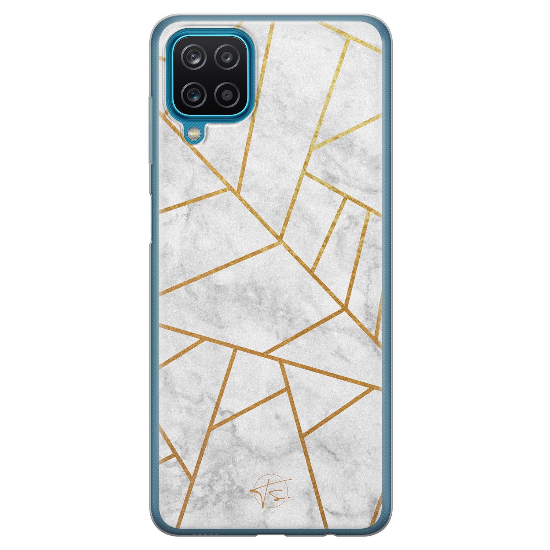 Telefoonhoesje Store Samsung Galaxy A12 siliconen hoesje - Geometrisch marmer