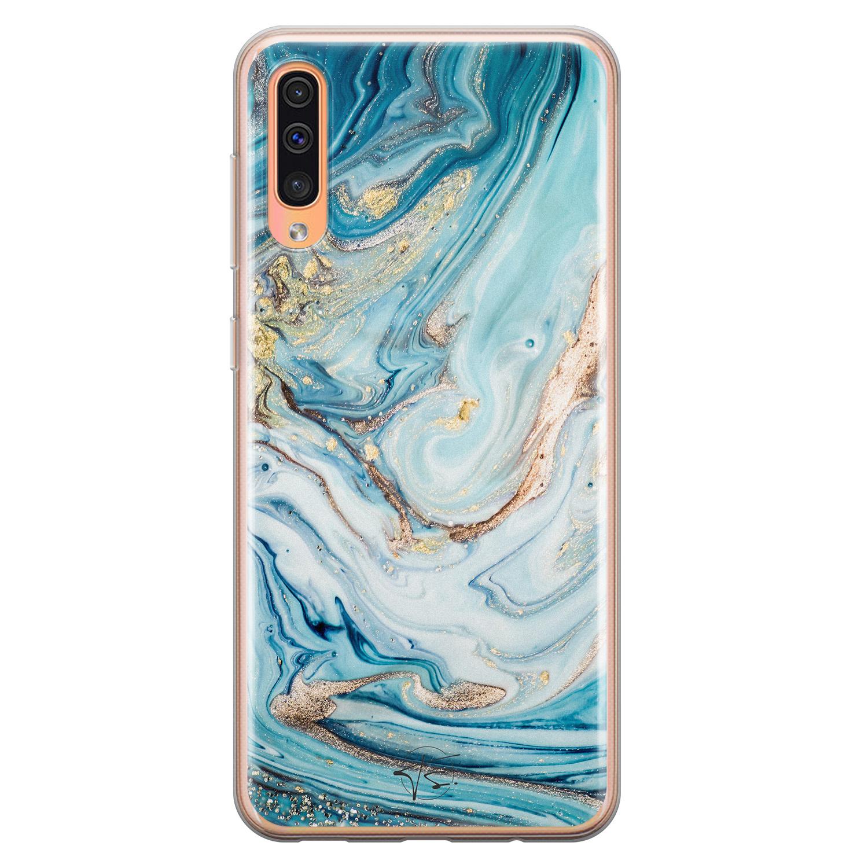 Telefoonhoesje Store Samsung Galaxy A70 siliconen hoesje - Marmer blauw goud