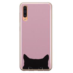 Telefoonhoesje Store Samsung Galaxy A70 siliconen hoesje - Zwarte kat