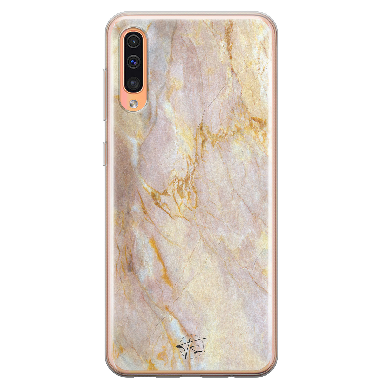 ELLECHIQ Samsung Galaxy A70 siliconen hoesje - Stay Golden Marble