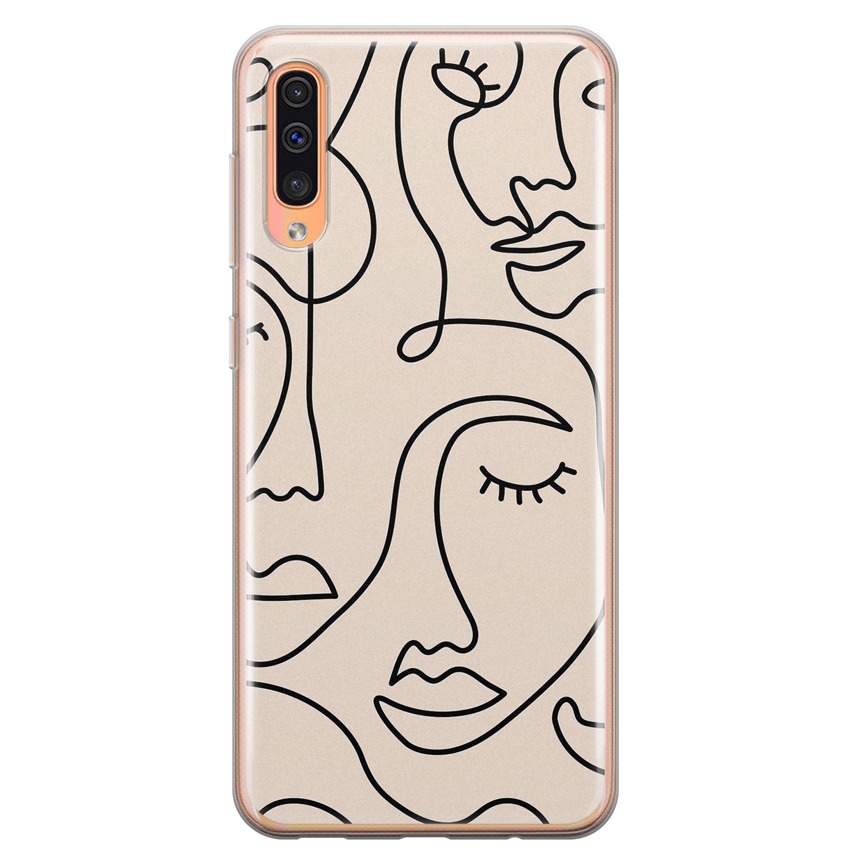 Leuke Telefoonhoesjes Samsung Galaxy A70 siliconen hoesje - Abstract gezicht lijnen