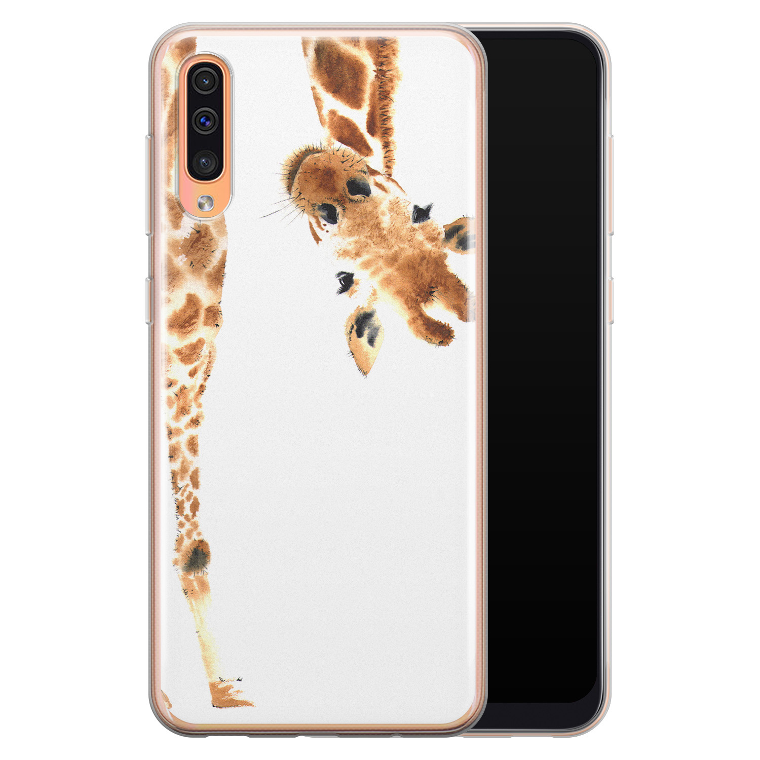 Leuke Telefoonhoesjes Samsung Galaxy A70 siliconen hoesje - Giraffe peekaboo