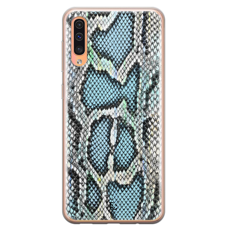 ELLECHIQ Samsung Galaxy A70 siliconen hoesje - Baby Snake blue