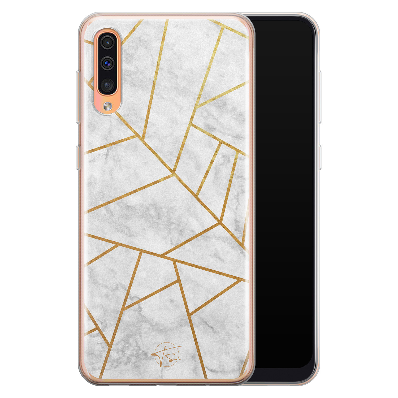 Telefoonhoesje Store Samsung Galaxy A70 siliconen hoesje - Geometrisch marmer